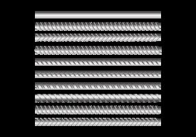Barras de metal ajustadas em fundo transparente vetor