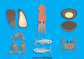 Vector de coleção de frutos do mar