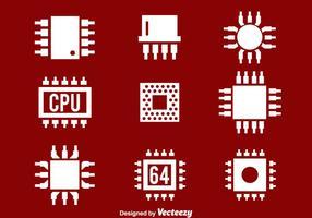 Ícones brancos da CPU vetor