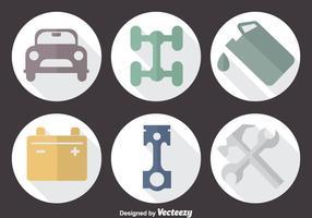 Ícones de círculo de serviço de carro vetor