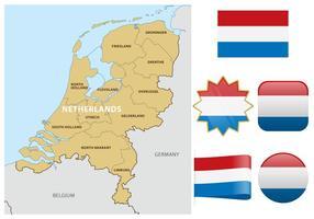 Mapa e bandeiras holandesas vetor