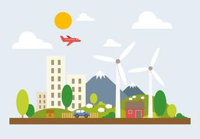 Ilustração vetorial Green Cityscape grátis vetor