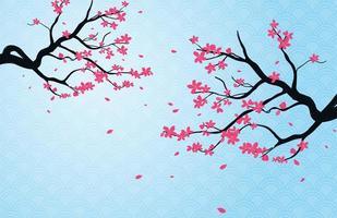 fundo de ramo de flor de cerejeira vetor