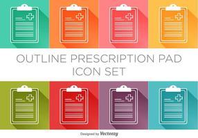 Conjunto de ícones de almofada de prescrição vetorial