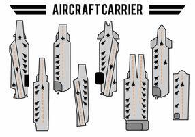 Conjunto de ícones de porta-aviões planos vetor