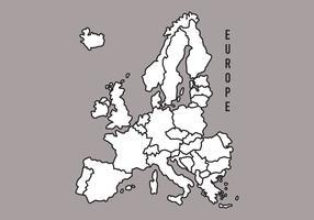 Mapa preto e branco da Europa vetor