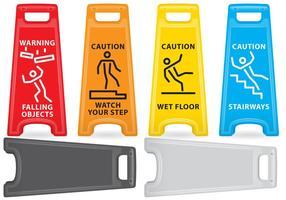 Cuidados com sinais de plástico vetor