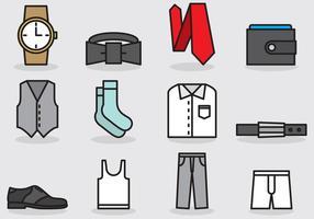 Ícones de roupas e acessórios masculinos vetor