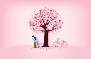 amantes se abraçam debaixo da árvore vetor