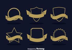 Emblema em branco com conjunto de vetores de fita
