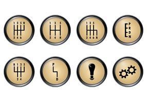 Conjunto de ícones do vetor da caixa de velocidades