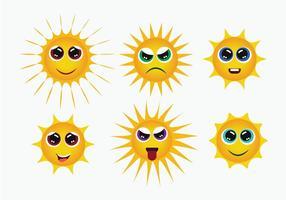 Vetor de ícones smiley do sol