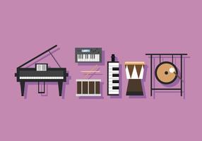 Percussão e chaves de instrumentos musicais em vetor