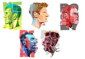 Jogador de futebol superstar colorido vetor
