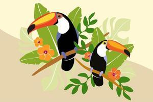 Tucano casal no galho com folhas de palmeira vetor