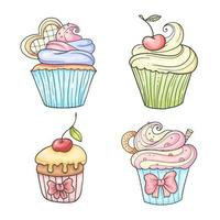 conjunto de cupcakes de estilo colorido mão desenhada