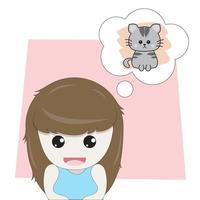 menina pensando em um gatinho fofo vetor