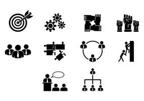 Conjunto de ícones de trabalho em conjunto vetor