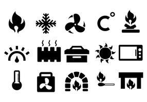Calefator e ícone de ícone de calor vetor