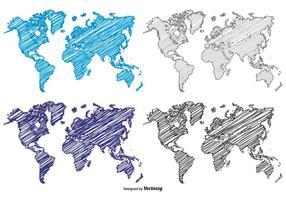 Mapas mundiais de estilo de rabiscos vetor