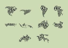 Conjunto de ícones do mapa de palavras vetor