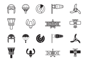 Ícones de aviação de biplano vetor