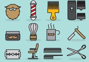Ícones bonitos do barbeiro vetor