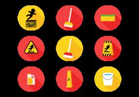 Ícones planos do sinal de piso molhado vetor