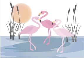 Cena de flamingo de vetores