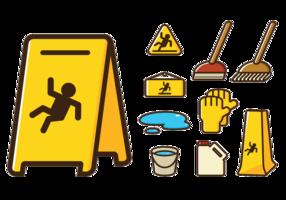 Ícones do sinal de piso molhado vetor