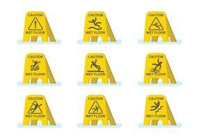 Conjunto de precaução de piso molhado grátis vetor