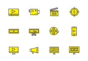 Ícones de Produção de Vídeo vetor