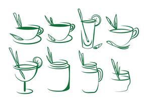 Conjunto de vetas de chá de lembrão vetor