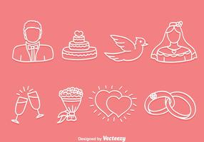 Vector de ícones de casamento desenhado à mão