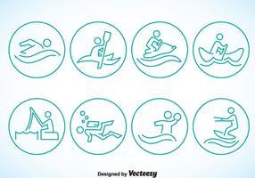 Ícones do círculo de esportes aquáticos vetor