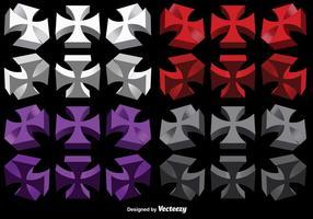 Conjunto de vetores de cruzes maltesas 3D