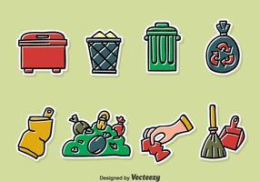 Jogo de vetor de lixo desenhado à mão