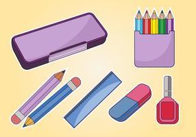 Vetor de caso de lápis de estudante