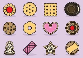 Ícones bonitos de cookies vetor