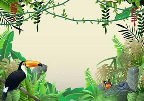 Lindas ilustrações da selva tropical e da liana vetor