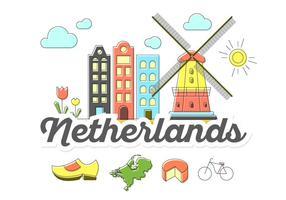 Ícones da Holanda vetor