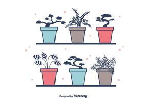Vetor de plantas em vaso