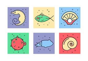 Ícones de vetor de animais do mar