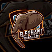 logotipo de modelo de jogo de cabeça de elefante