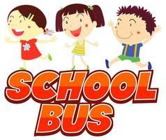 crianças prontas para o ônibus escolar vetor