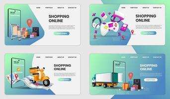 compras on-line no conjunto de aplicativos móveis vetor