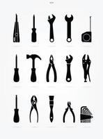 conjunto de ícones de silhueta de ferramenta artesão vetor