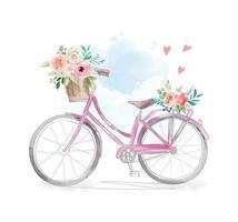 bicicleta em aquarela com flores na cesta vetor
