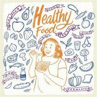 conjunto de elementos de comida saudável desenhados à mão vetor