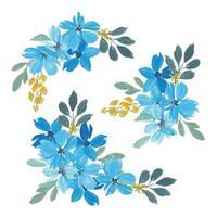 conjunto de buquê floral aquarela de pétala azul